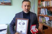 Награждение медалью имени П.И. Рикорда Валентина Андрейцева